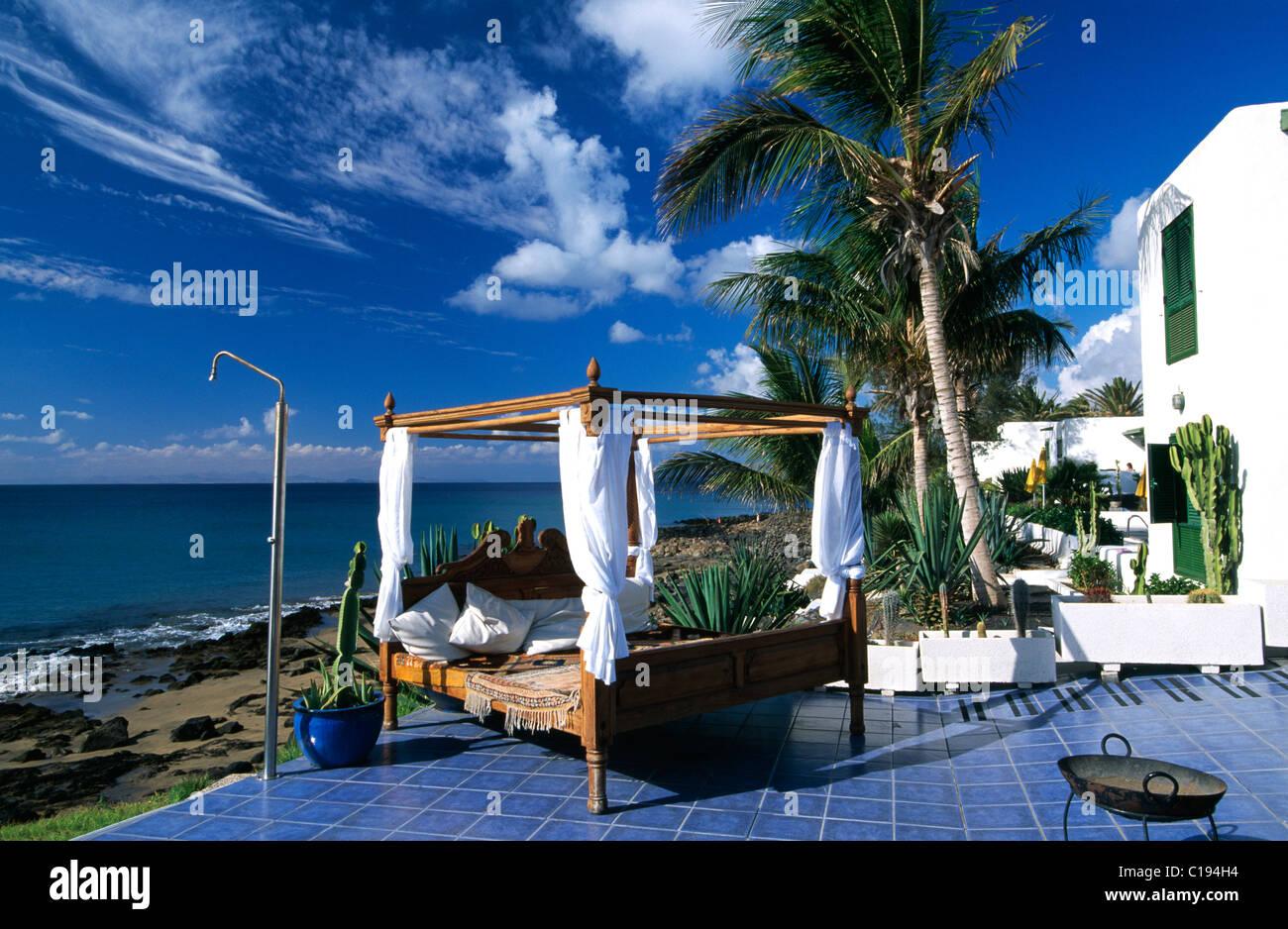 La Ola Club de plage à Puerto del Carmen, Lanzarote, Canary Islands, Spain, Europe Banque D'Images