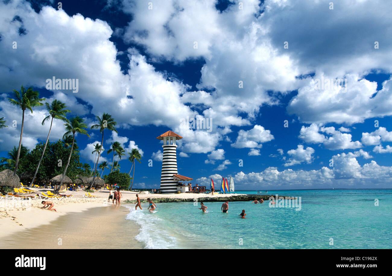 Palm Beach à Bayahibe, République dominicaine, Caraïbes Photo Stock