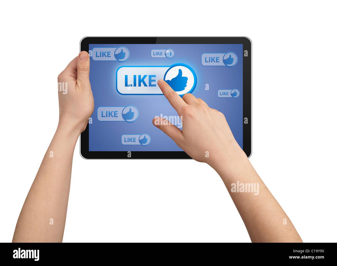 En appuyant sur le bouton dans la main comme tablet pc, isolated on white Photo Stock