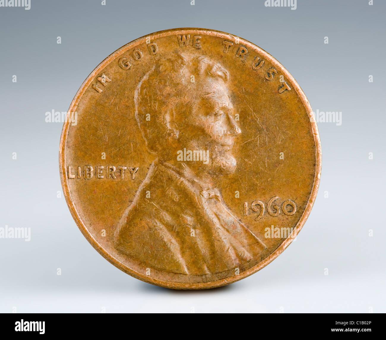 Nous 1 100 penny en cuivre à partir de 1960. Pièces faites avant 1983 avaient un niveau beaucoup plus Photo Stock