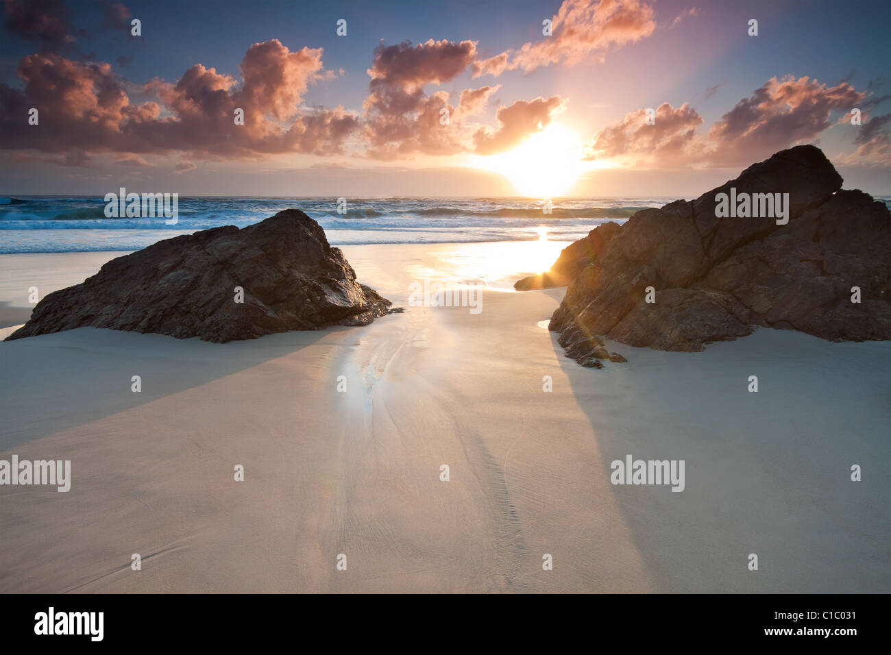 Seascape australienne au lever du soleil (Miami beach, Queensland, Australie) Photo Stock