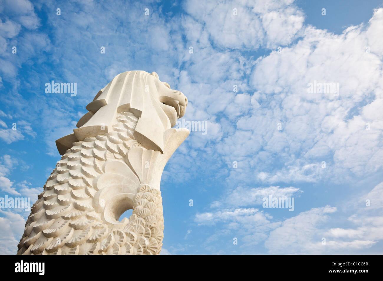 Le Merlion, statue sur l'Esplanade, à Singapour, Banque D'Images