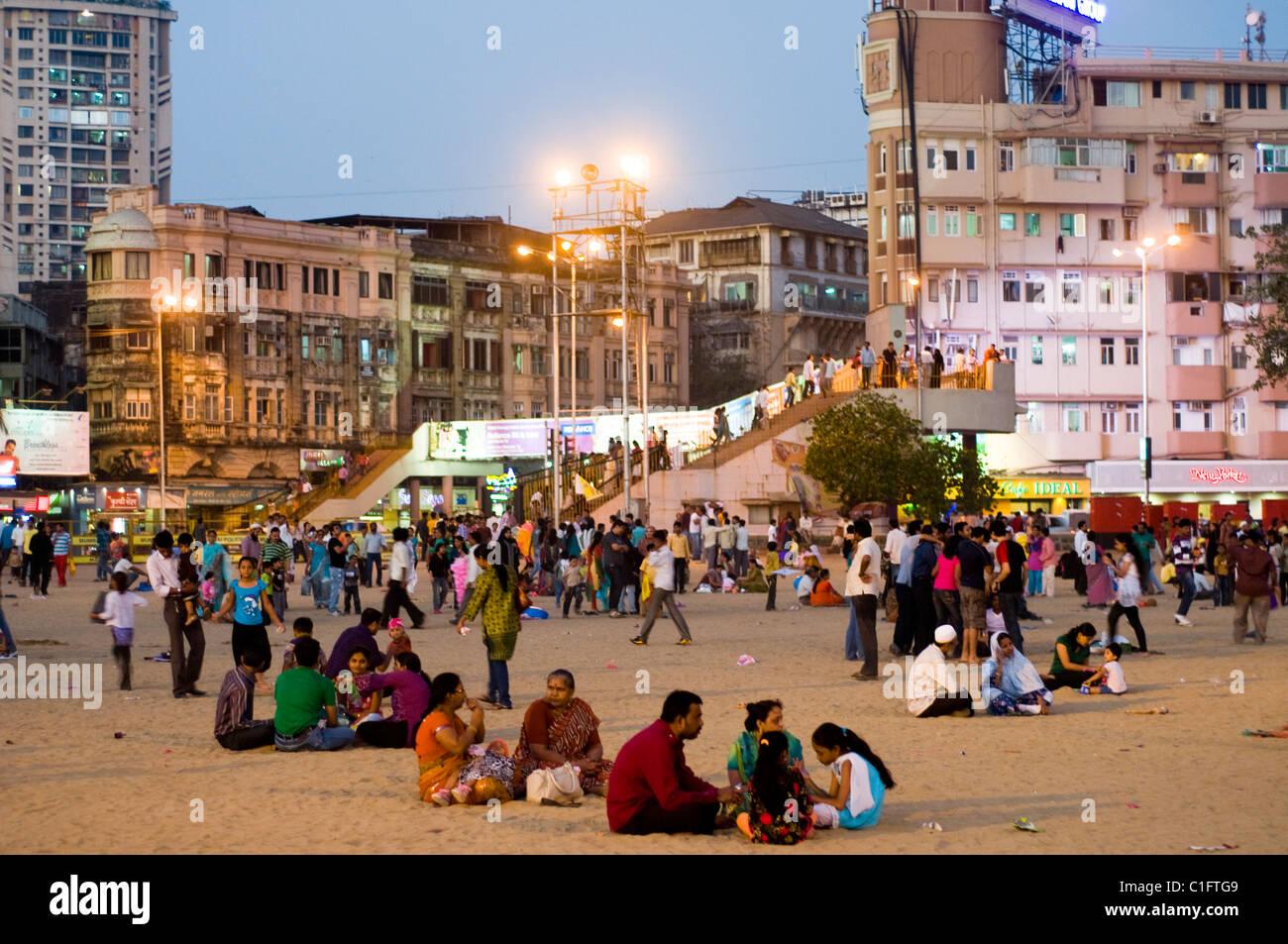 Scène de plage Chowpatty, Mumbai, Inde Photo Stock