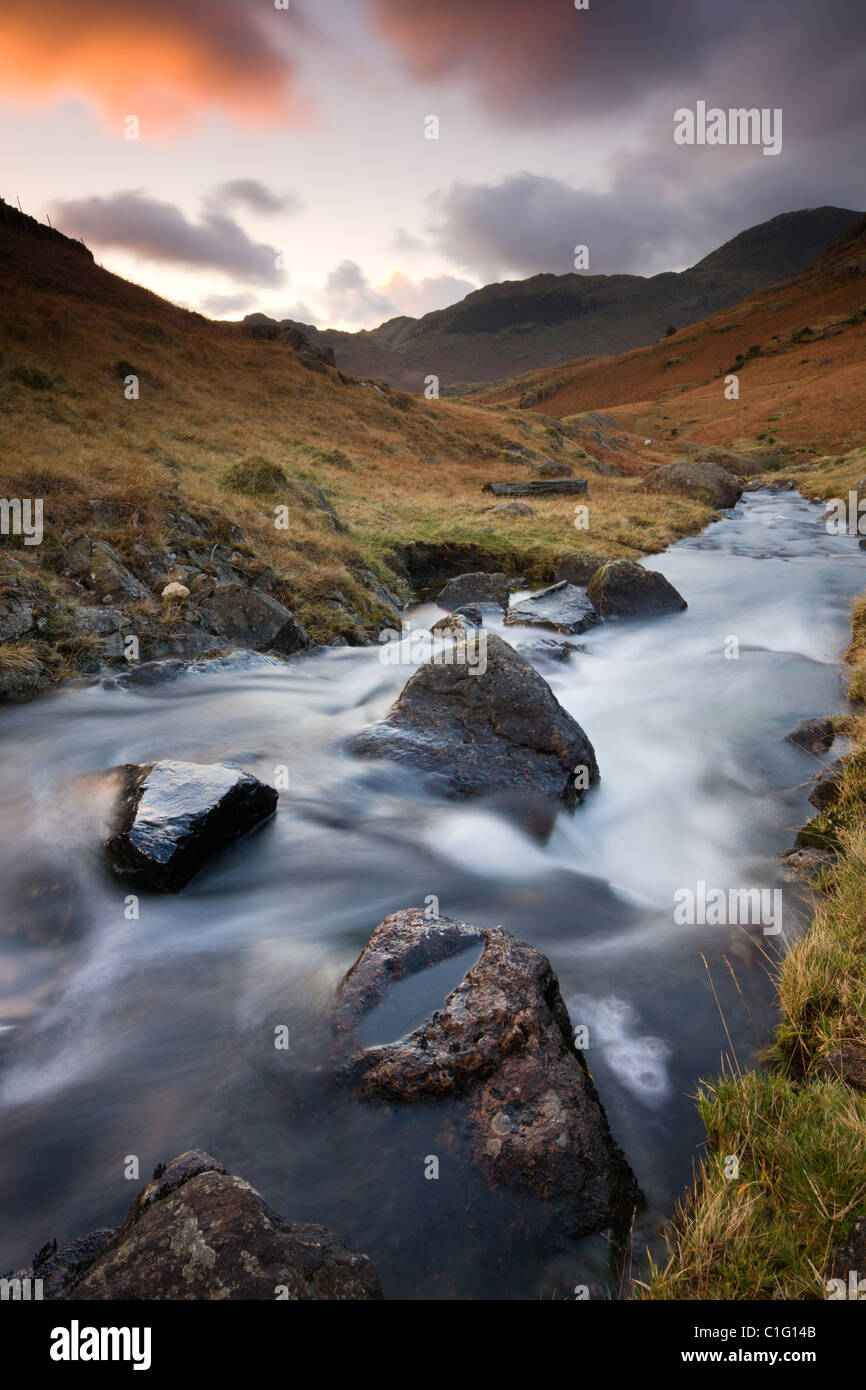 Bleamoss Beck, Parc National de Lake District, Cumbria, Angleterre. L'automne (novembre) 2010. Photo Stock
