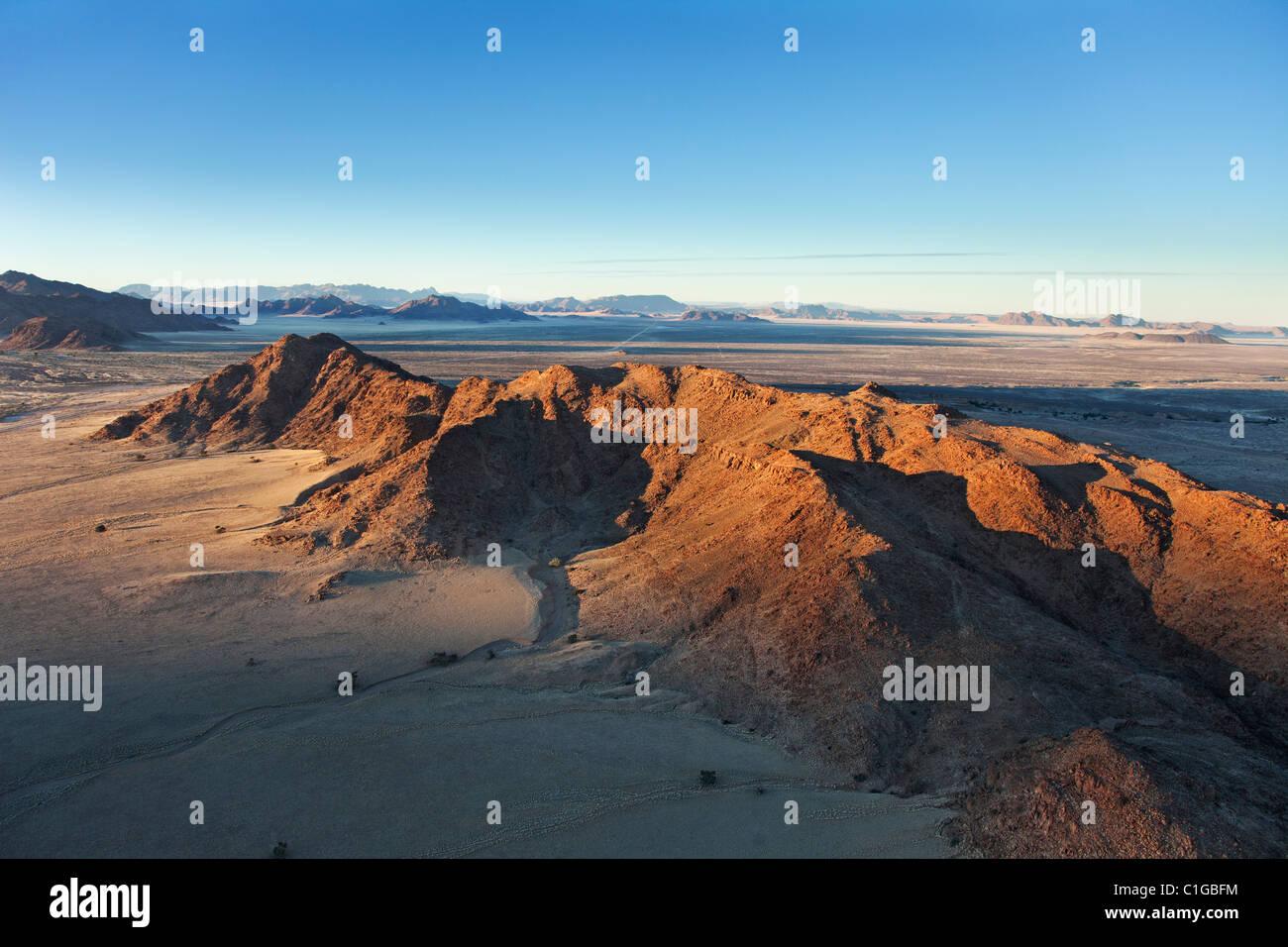 Chaîne de montagnes. Désert du Namib Naukluft, Parc National, la Namibie. Photo Stock