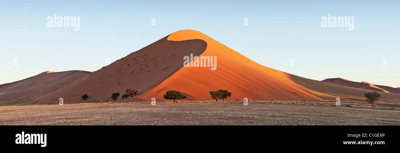 Vue sur les dunes de sable de Sossusvlei dans le désert du Namib. Le Namib Photo Stock