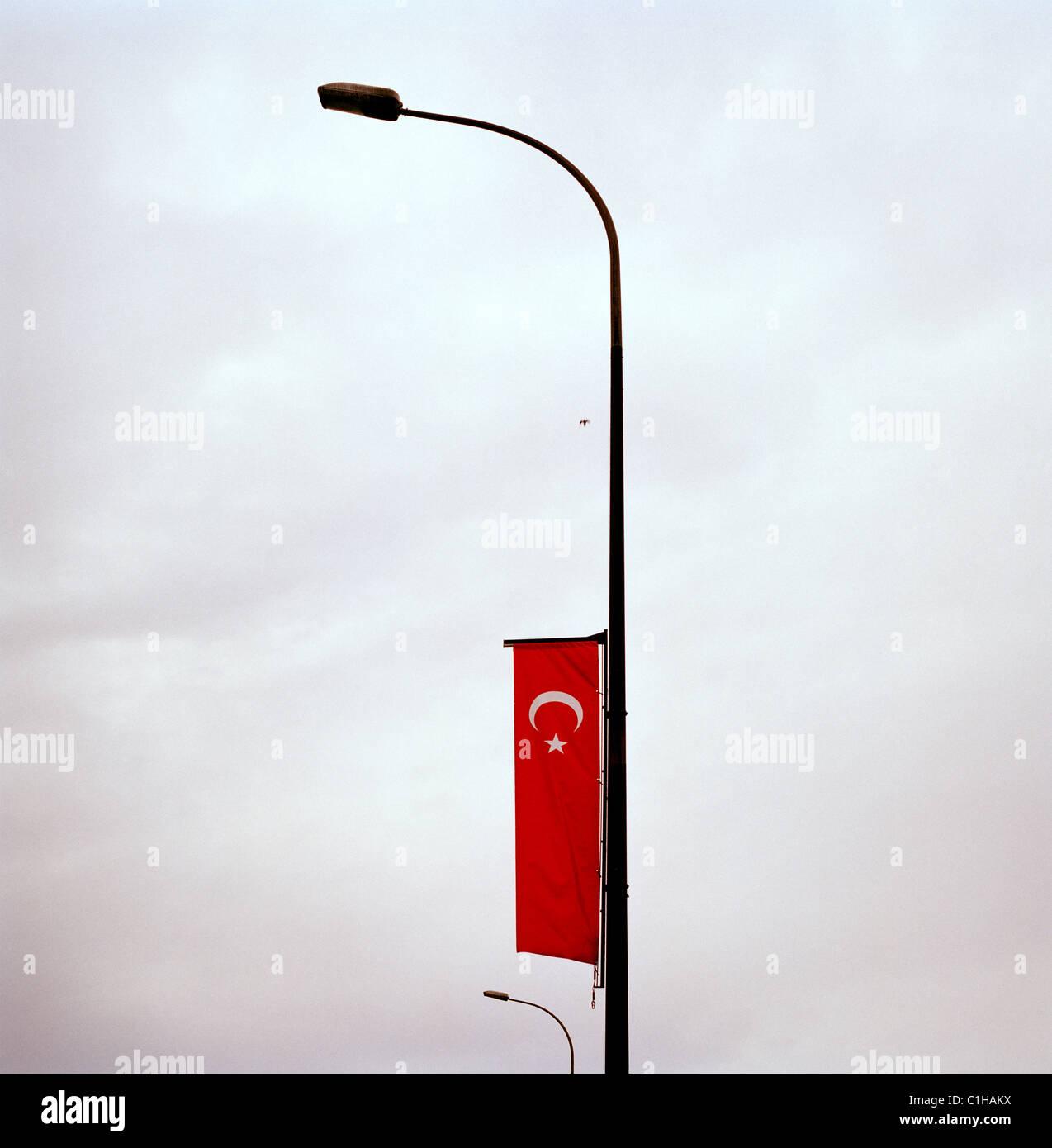 Le drapeau turc à Istanbul en Turquie. Photo Stock
