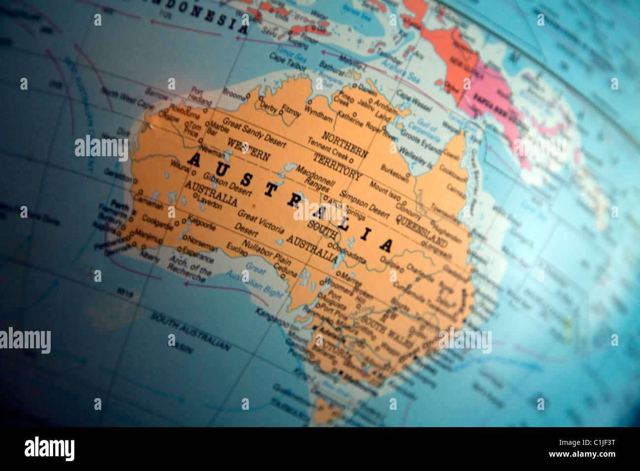 L'Australasie Australie globe map Banque D'Images