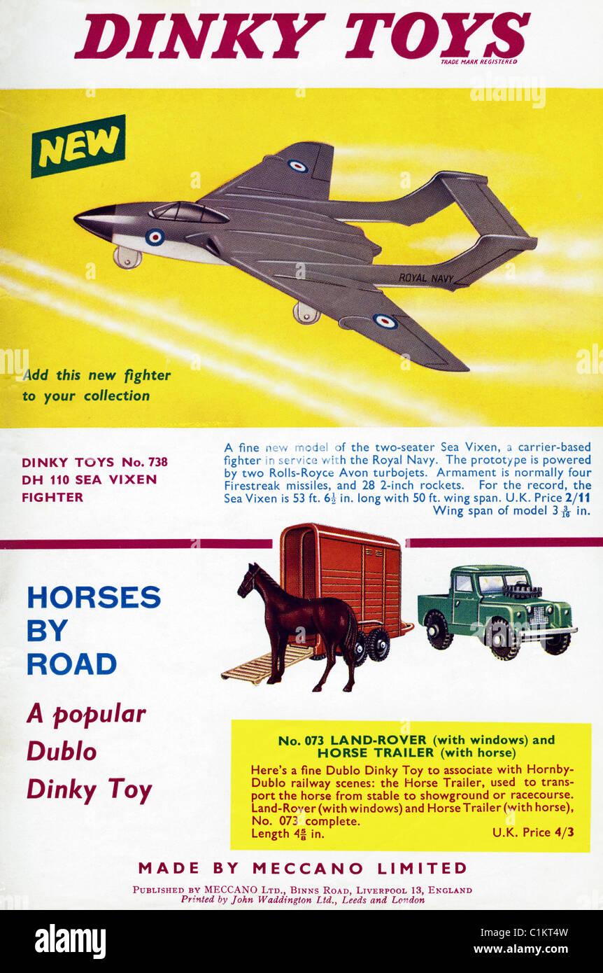 En 1960, l'annonce d'origine boy's hobby magazine pour DINKY faites par le Meccano Photo Stock