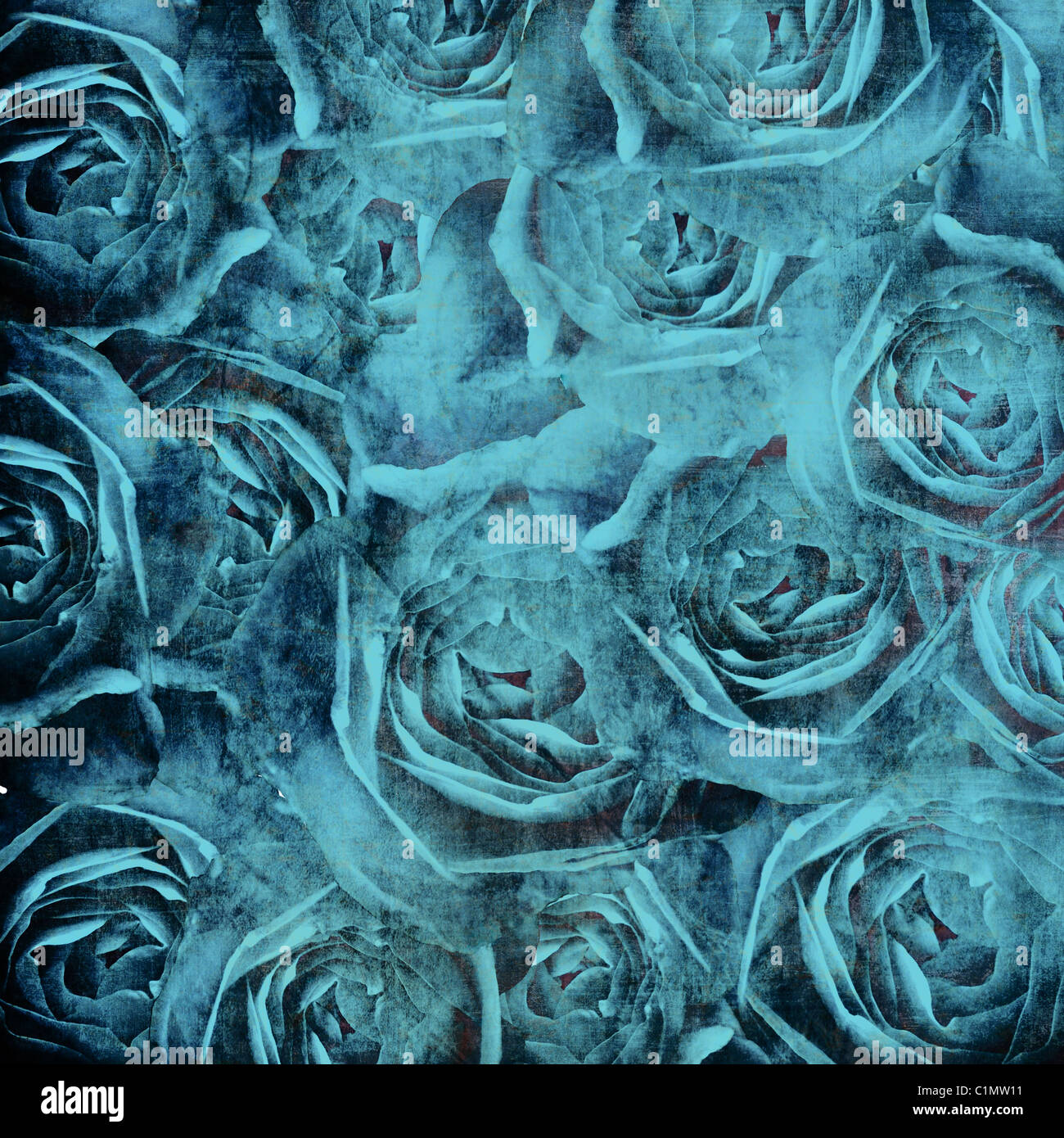 Grunge fond beau bleu Roses Photo Stock