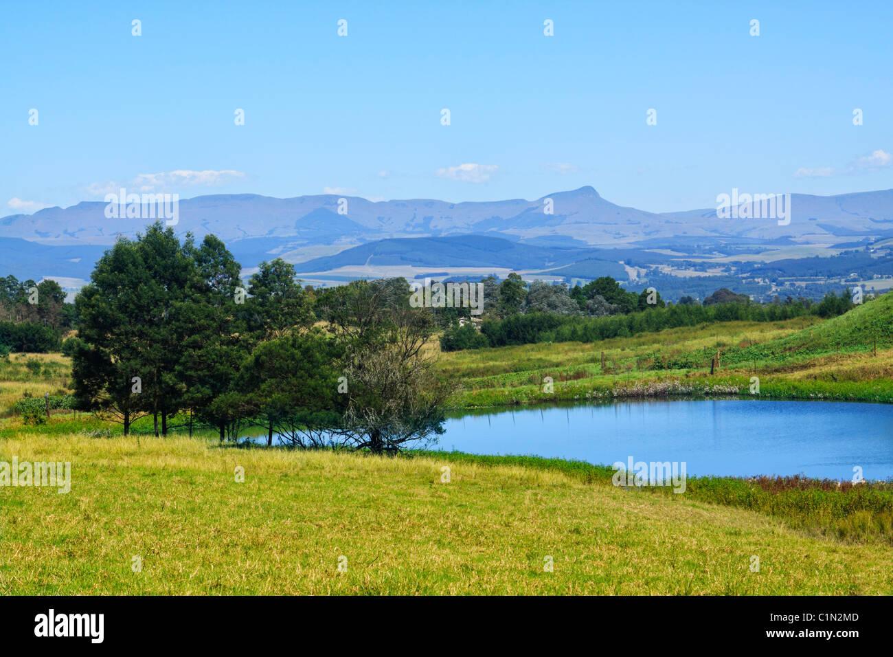 Paysage dans les Midlands, KwaZulu Natal, Afrique du Sud. Photo Stock