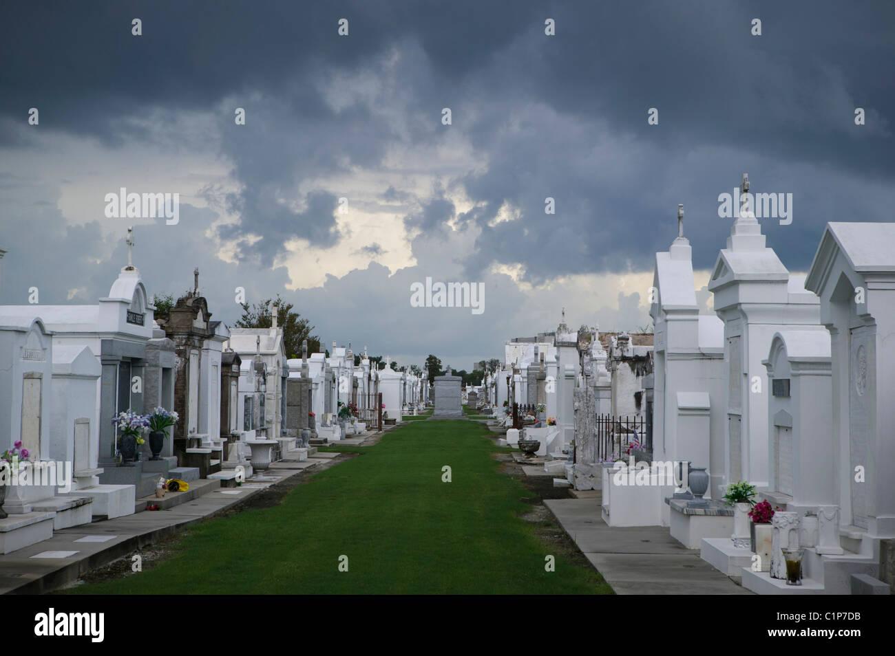 Lou Ravi n° 1 avec les nuages gris, La Nouvelle-Orléans Photo Stock