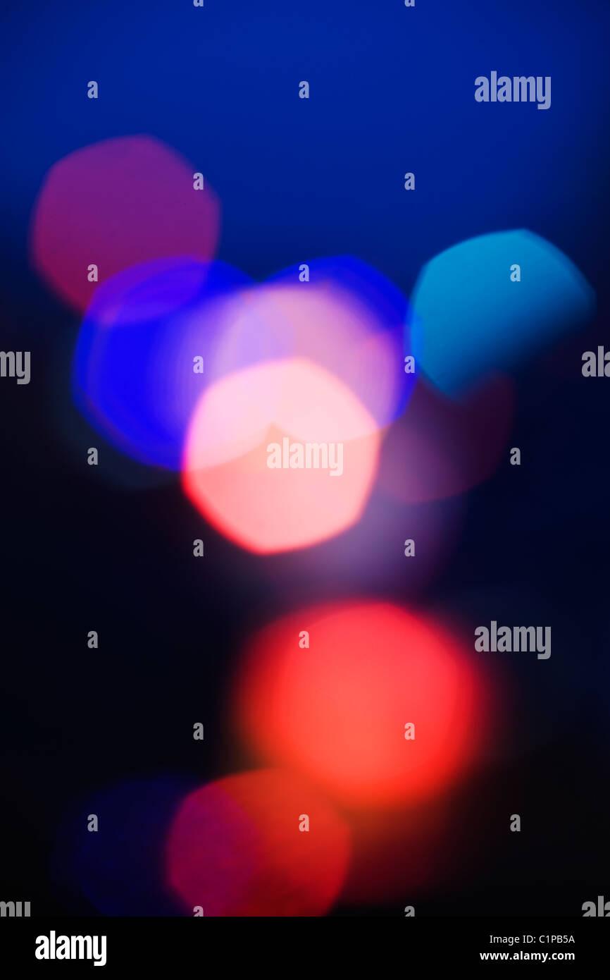Résumé des motifs de couleur tachetée de points d'éclairage de rue Photo Stock