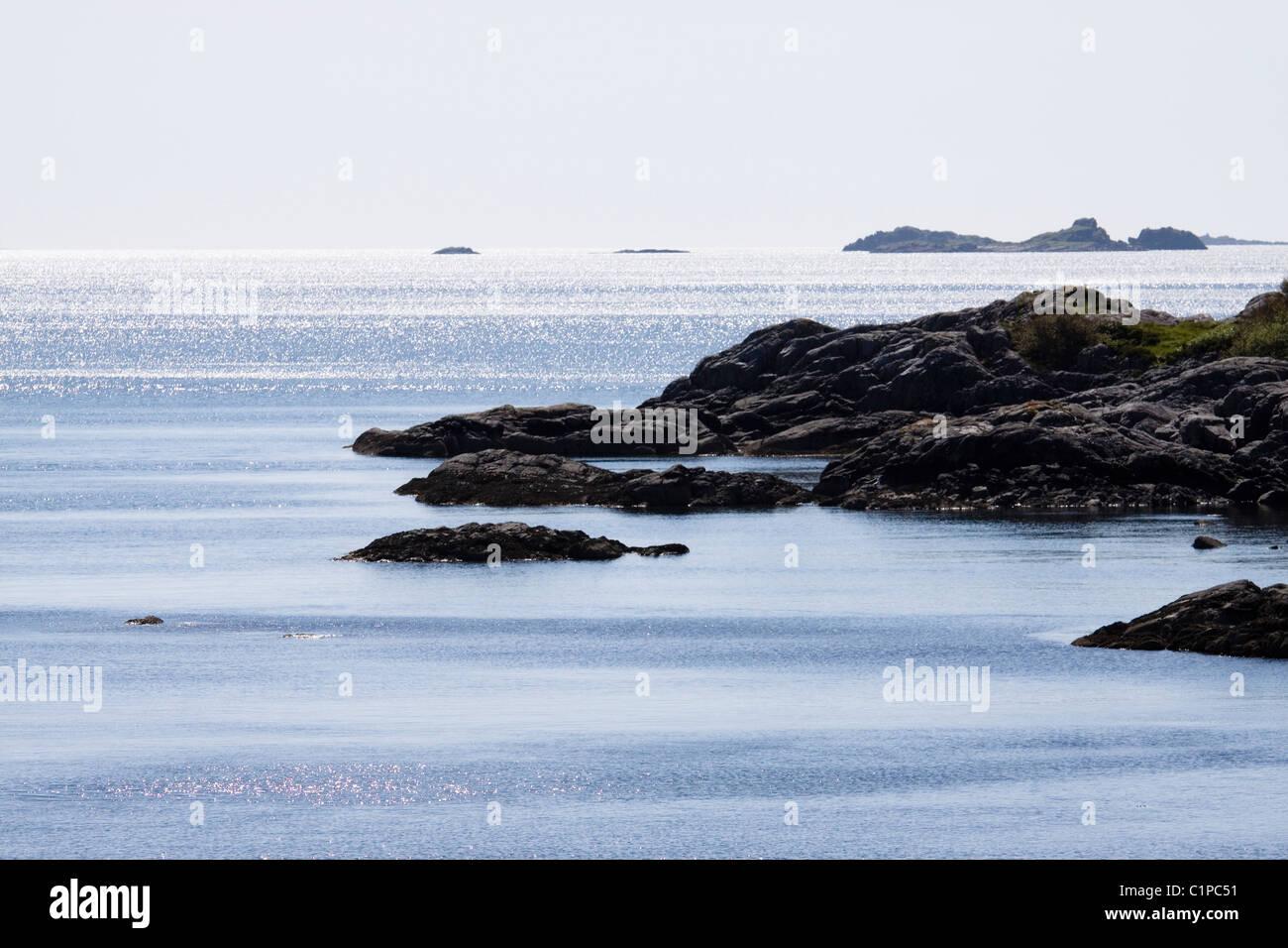 L'Écosse, Moidart, Son d'Arisaig, côte rocheuse Banque D'Images