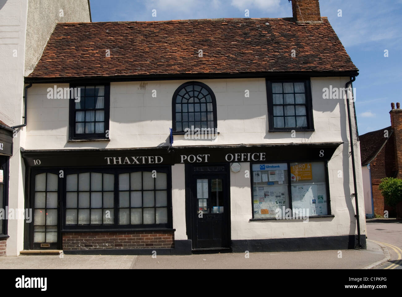 L'Angleterre, Essex, Thaxted, façade du bureau de poste Photo Stock