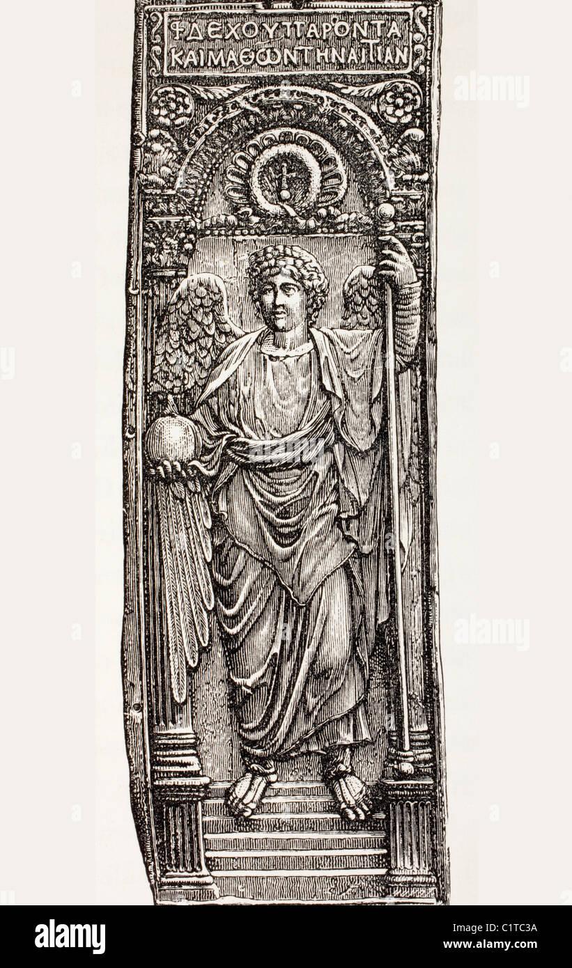 Saint Michel Archange, Ministre de Dieu, offrant un empereur byzantin un globe surmonté d'une croix, symbole du Banque D'Images