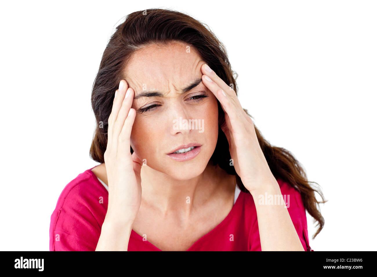 Femme baissés having a headache Photo Stock