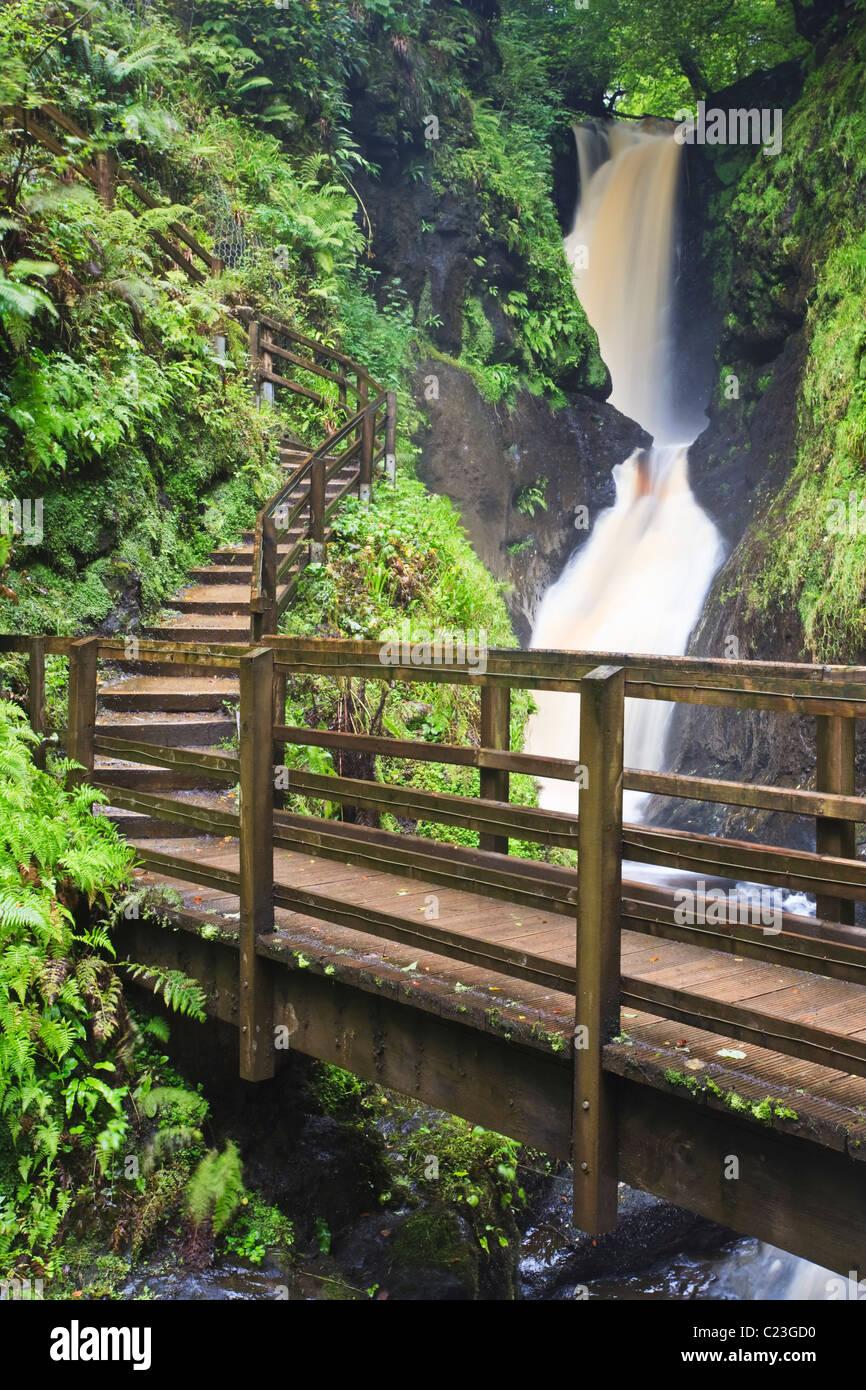 Ess-na-Larach Cascade du Glenariff Forest Park, dans le comté d'Antrim, en Irlande du Nord Banque D'Images