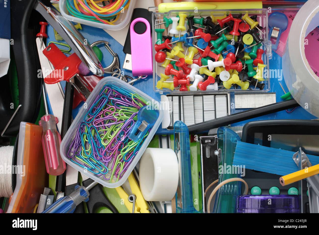Vie secrète des tiroirs Papeterie Photo Stock