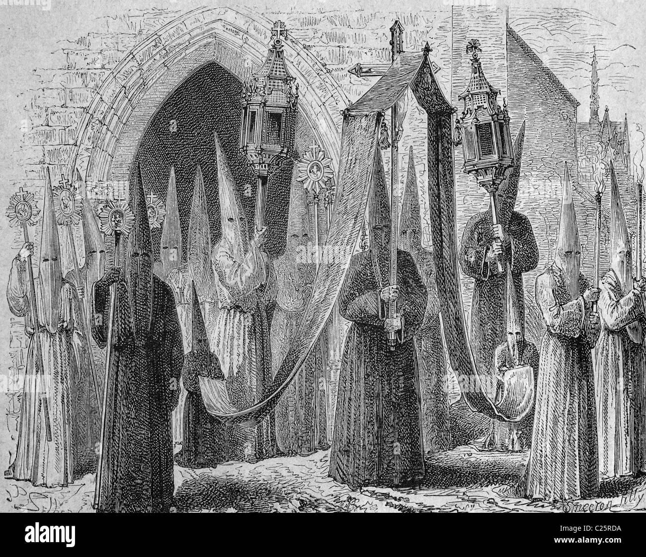 Procession des membres de l'ordre de pénitents, la France, l'Espagne, illustration historique, 1877 Photo Stock