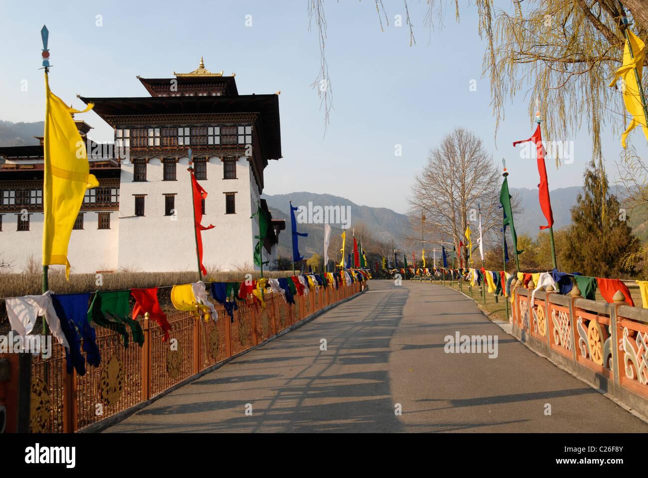 Trashi Chhoe Dzong à entrée, Thimphu, Bhoutan Photo Stock