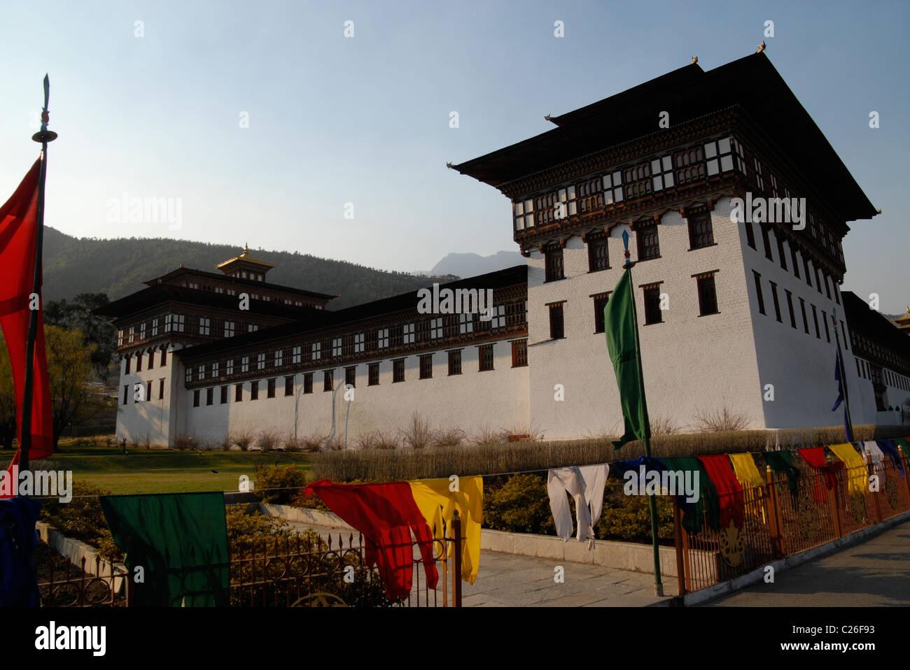 En dehors de Trashi Chhoe Dzong, Thimphu, Bhoutan Photo Stock