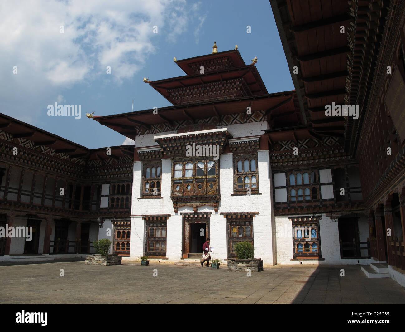 Cour de la Dzong dans le nord-est, le Bhoutan Trashi Yangtse Photo Stock