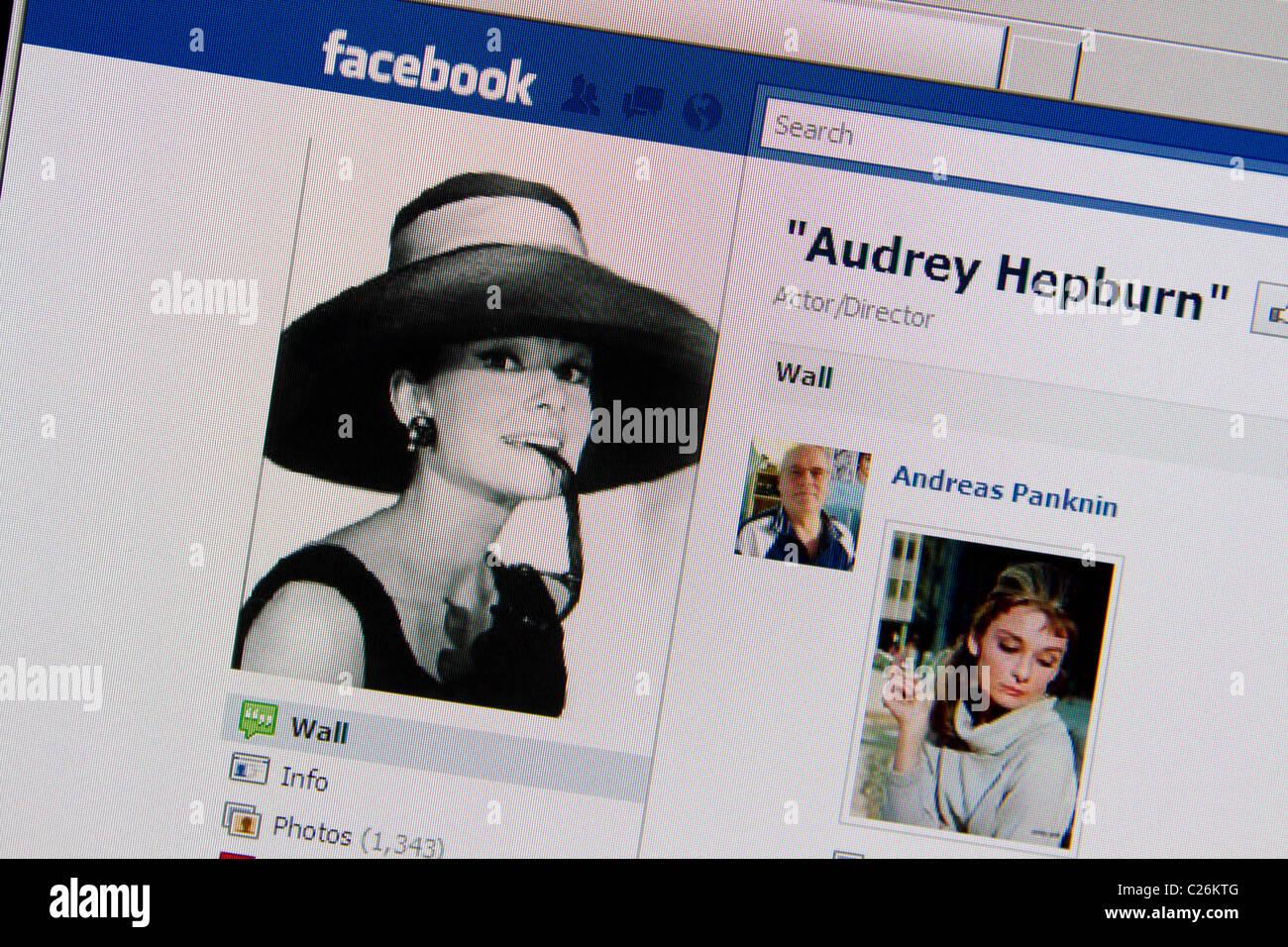 Audrey Hepburn facebook fanpage Photo Stock