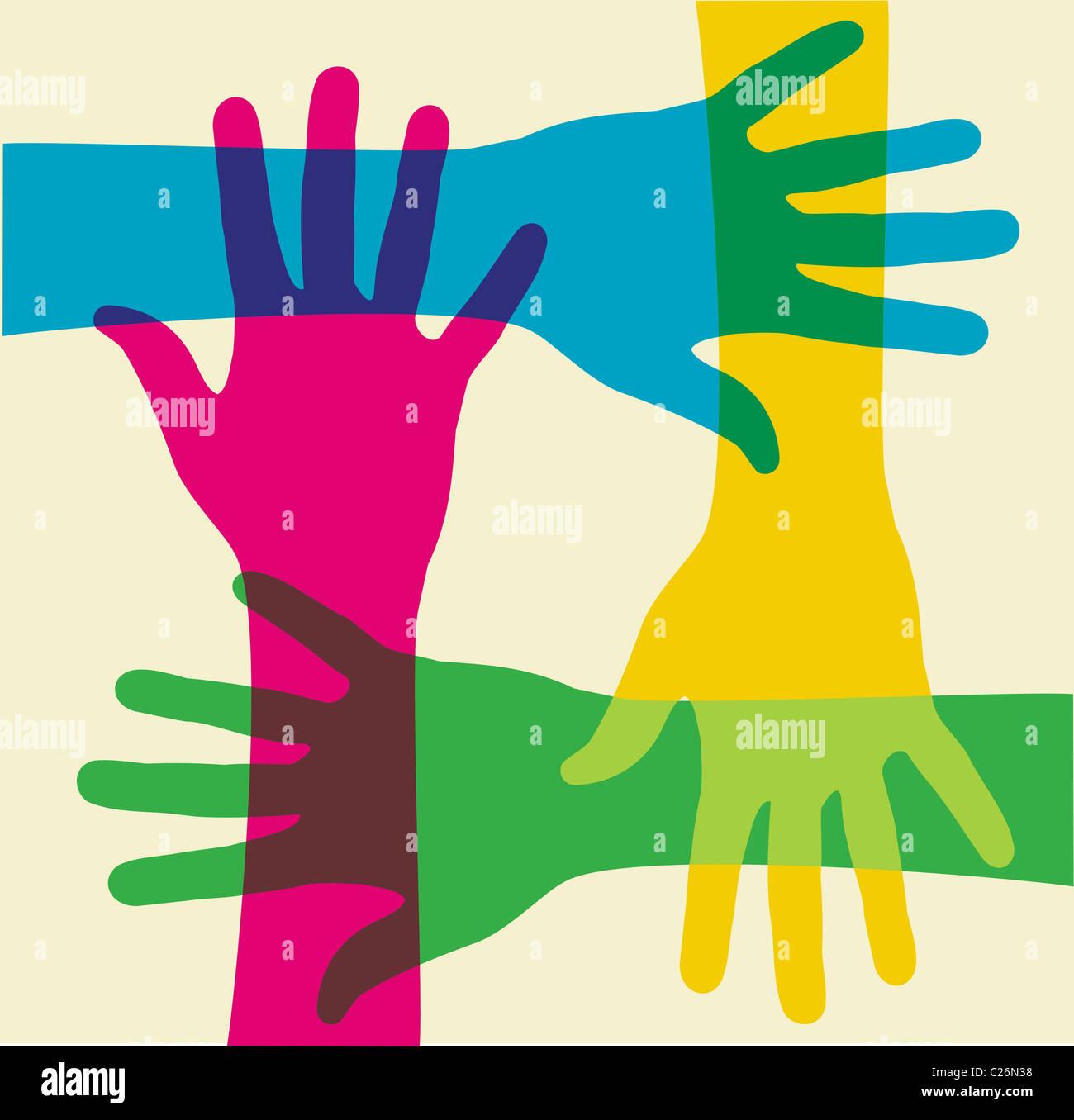 Mains colorés sur une illustration fond clair. Fichier vecteur disponible. Banque D'Images