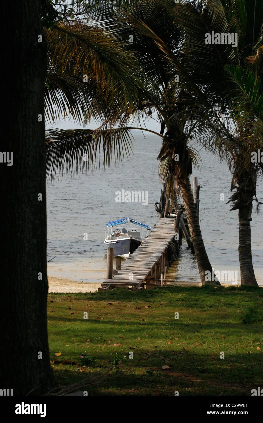 Pier et amarré motor yacht sur Bulago Island dans le lac Victoria, Ouganda Photo Stock