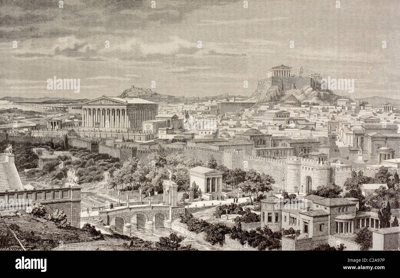 Vue d'artiste d'Athènes, la Grèce à l'époque de l'empereur Hadrien, 1er et 2ème Photo Stock