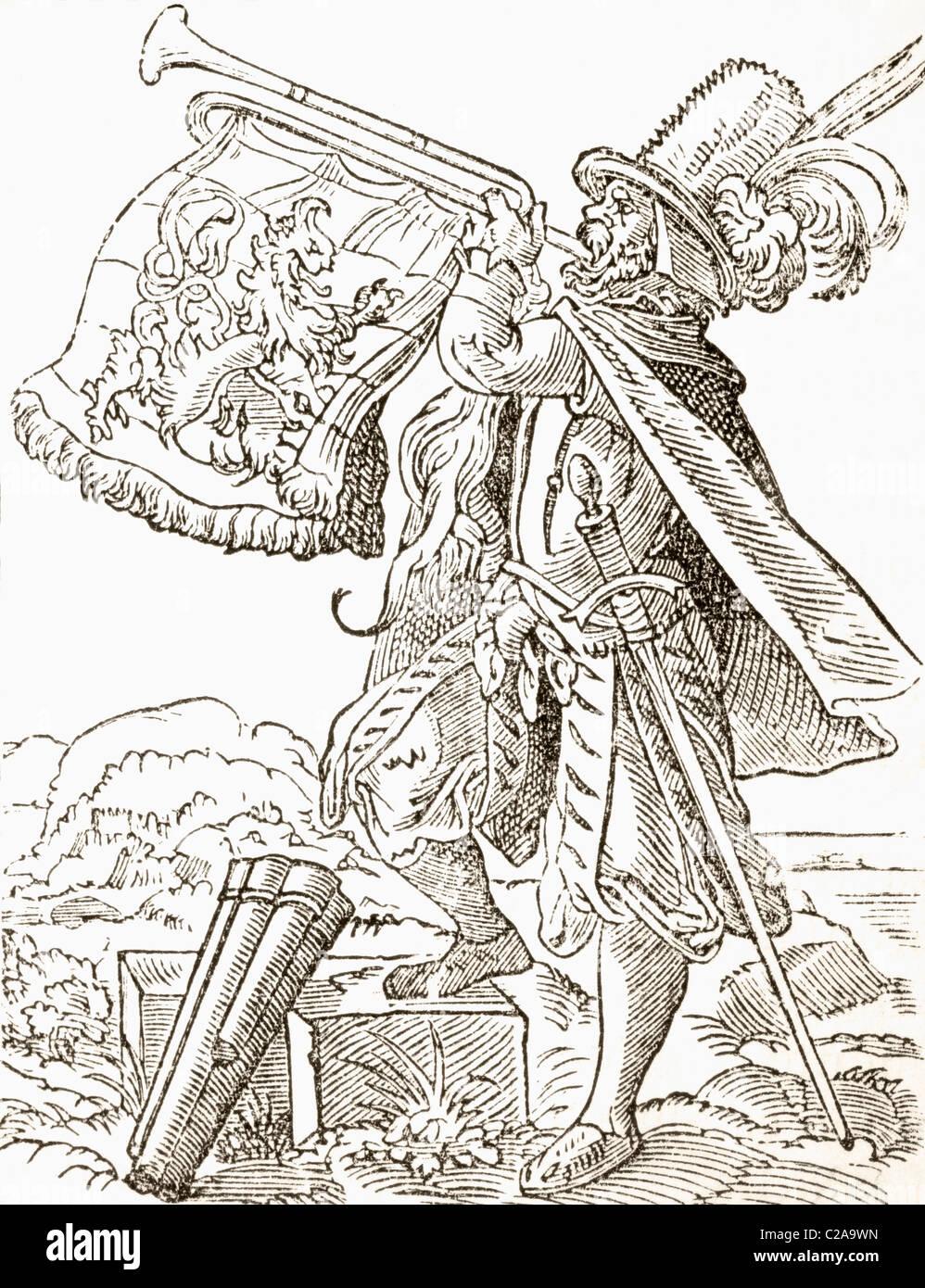 Musicien allemand du 16ème siècle jouer trompette militaire. Photo Stock