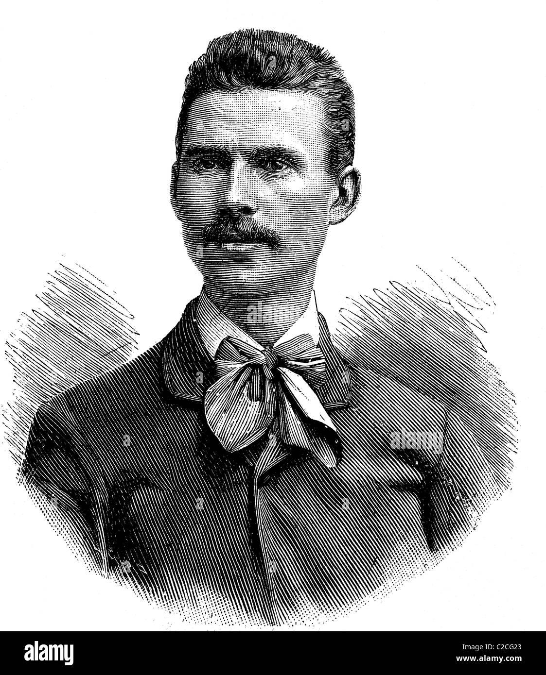 Arno Elsaesser, l'un des gagnants de la distance mars Vienne - Berlin 1893, illustration historique vers 1893 Photo Stock