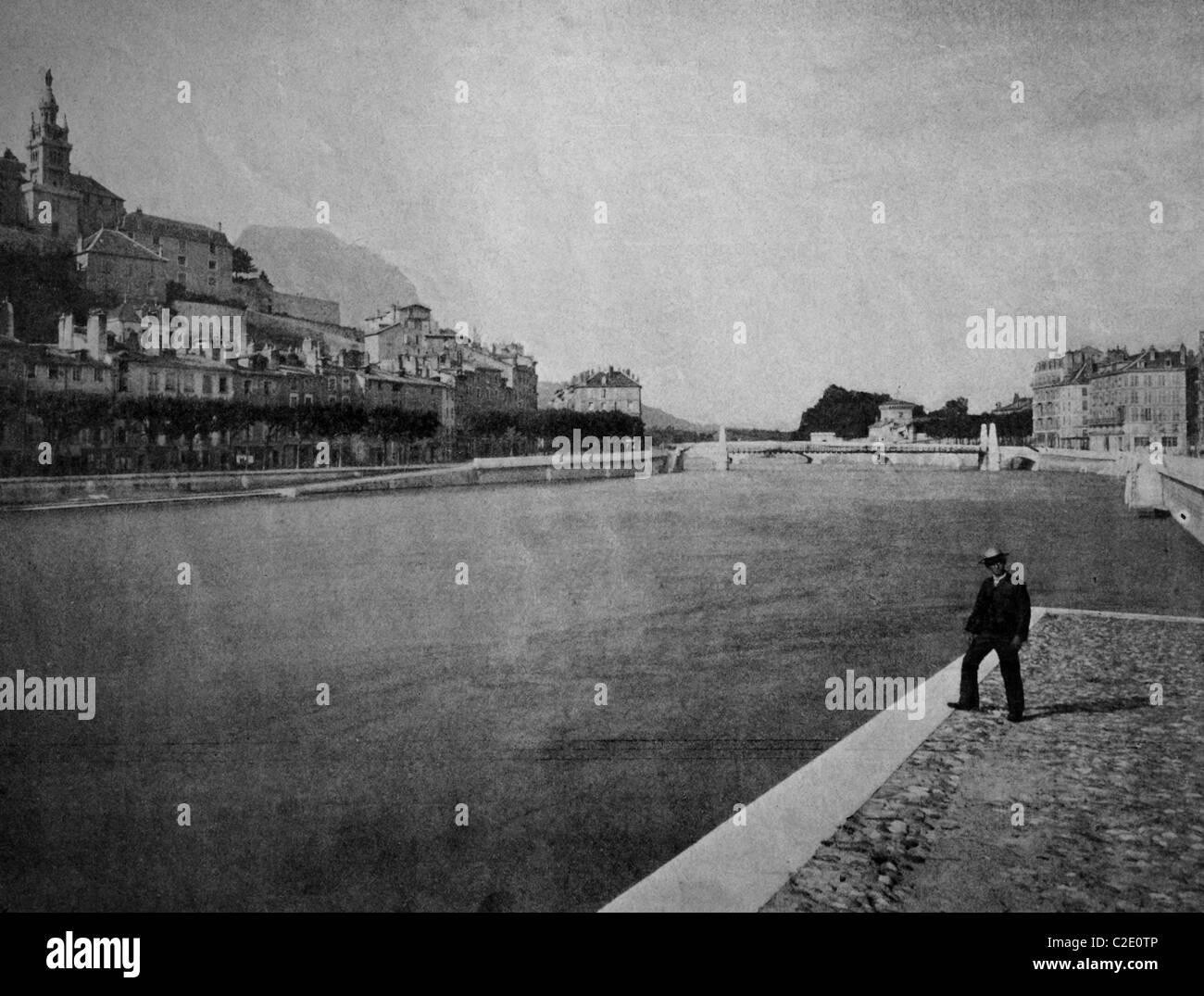 L'un des premiers autotypes de Grenoble, France, photographie historique, 1884 Photo Stock