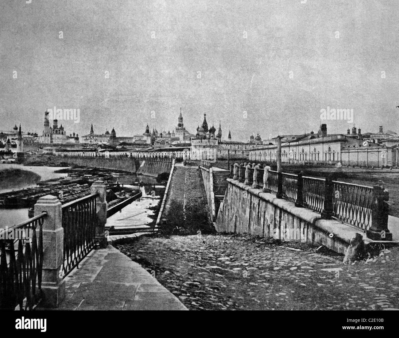 L'un des premiers autotypes du Kremlin, Moscou, photographie historique, 1884 Photo Stock