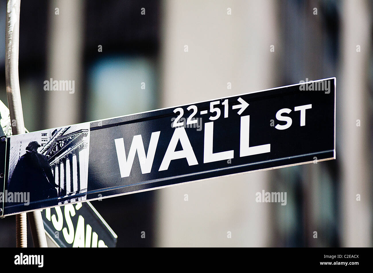 Wall Street road chanter, du quartier financier, Lower Manhattan, New York City, USA Photo Stock