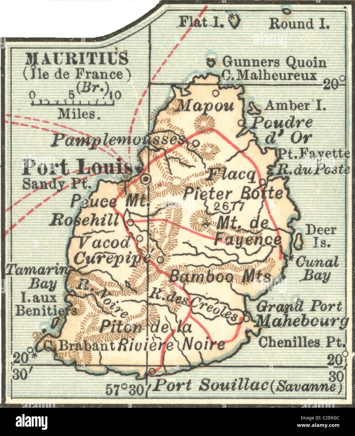 Carte De L Ile Maurice Banque D Images Photo Stock 35972732 Alamy