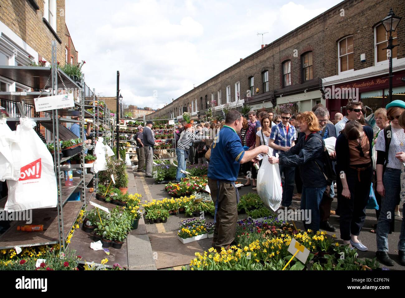 Columbia Road Flower Market situé dans l'Est de Londres, Angleterre, Royaume-Uni. Photo:Jeff Gilbert Photo Stock