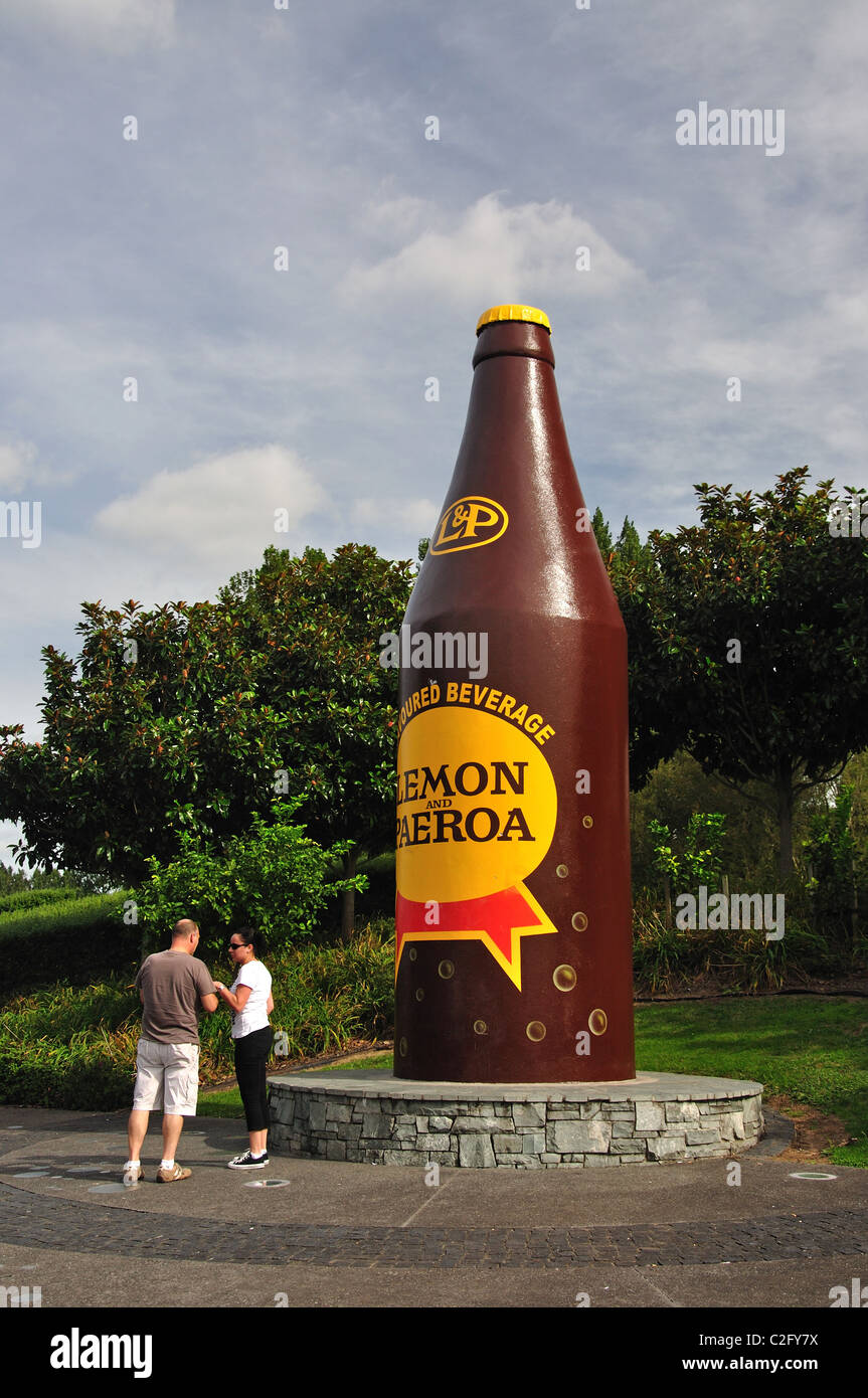 Le Citron géant & Paeroa bouteille de boisson, Paeroa, de la région de Waikato, Nouvelle-Zélande, Photo Stock