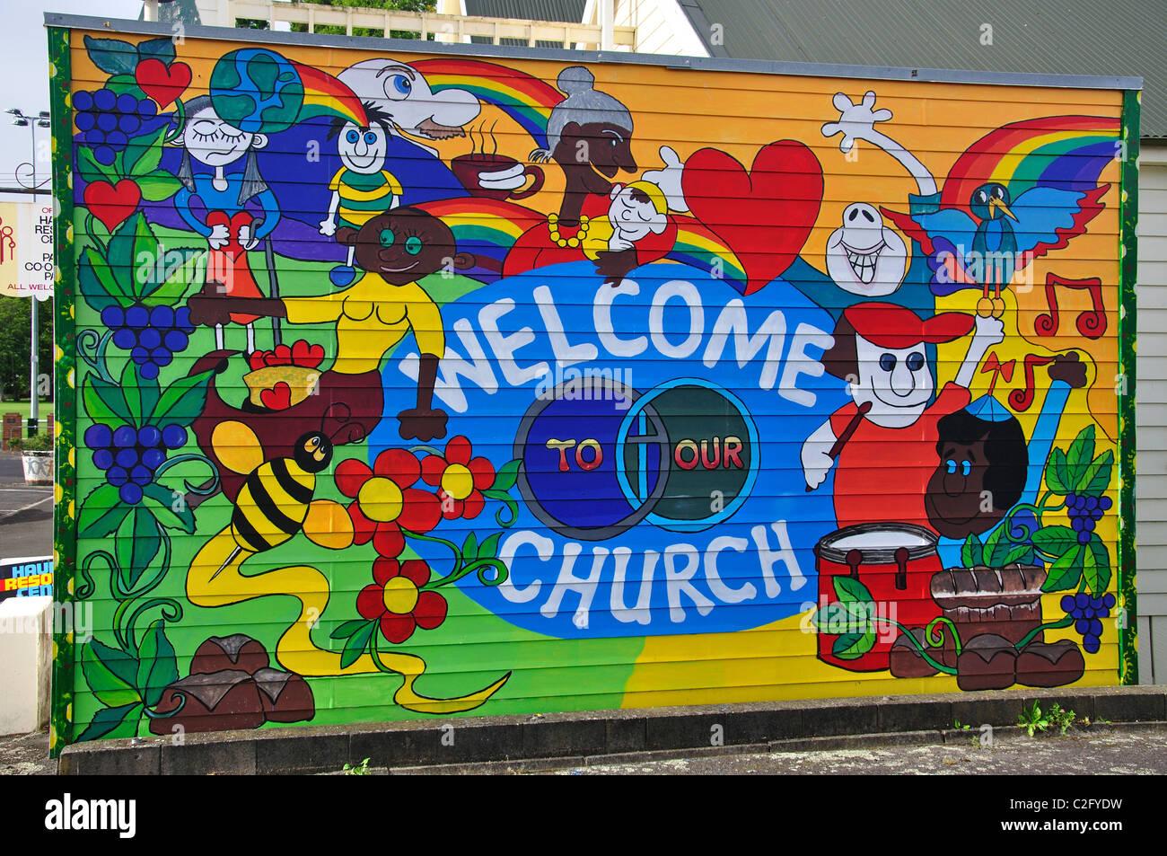 'Bienvenue à notre église, Paeroa murale de l'Église ayant coopéré, rue MacKay, Photo Stock