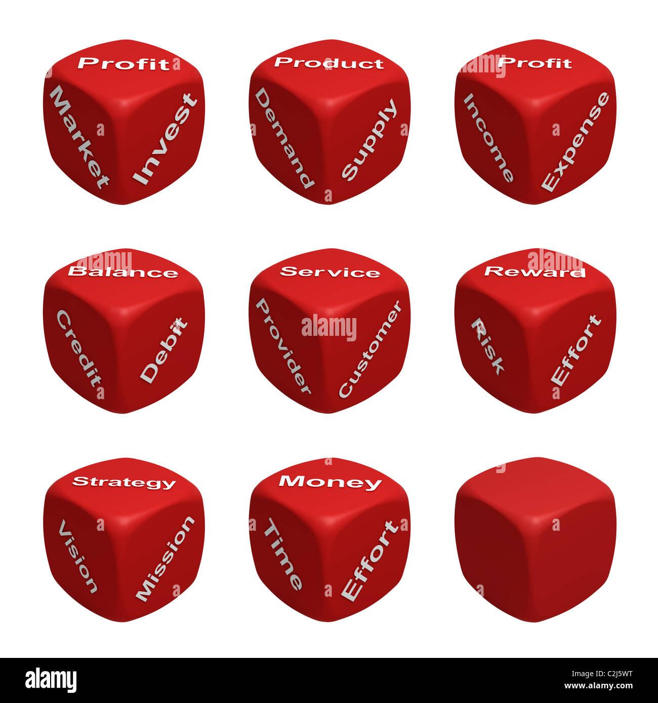 Collection de dés rouges avec les mots consacrés à l'administration et des finances Photo Stock