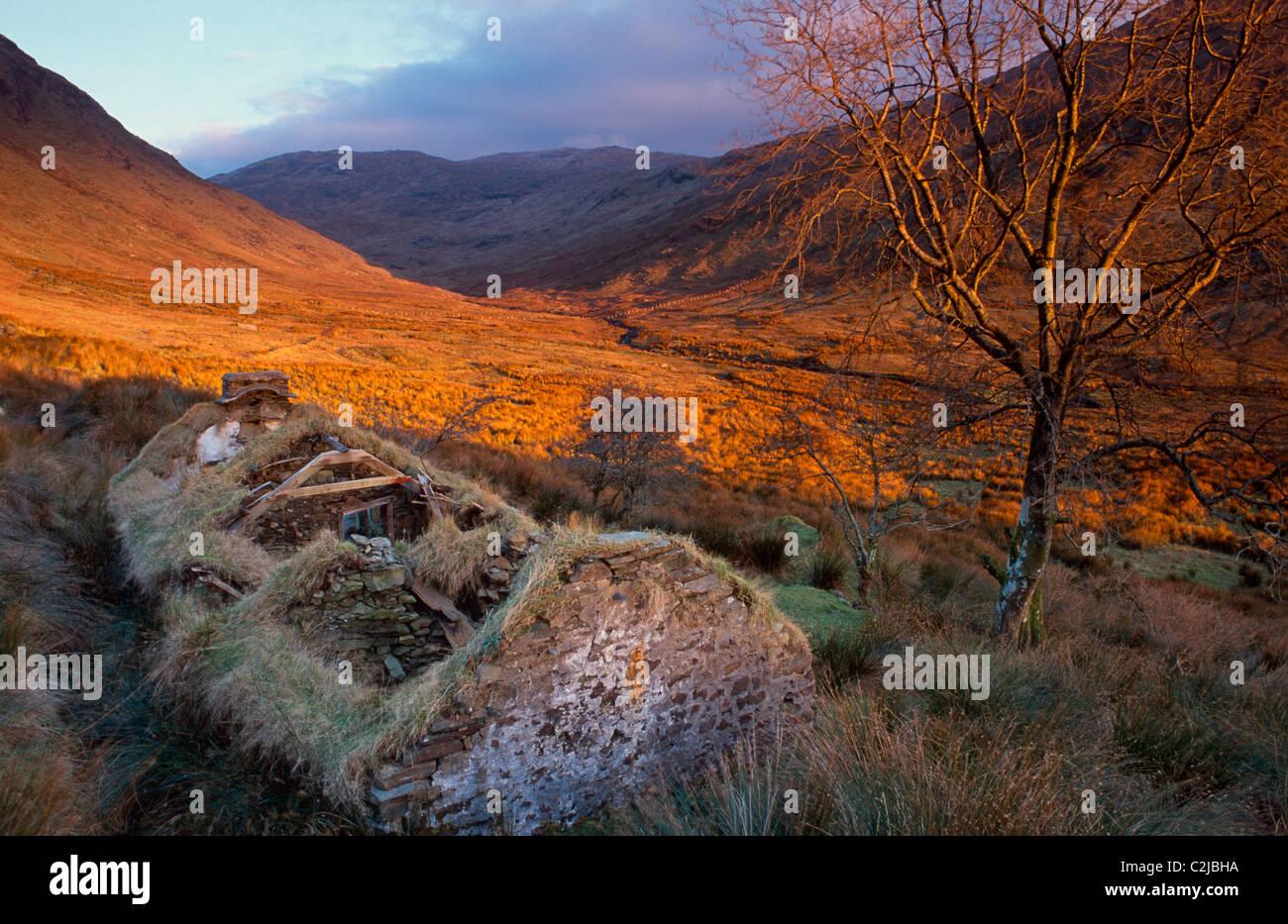 Maison de ferme abandonnée dans la vallée, Sruell Montagnes Bluestack, comté de Donegal, Irlande. Photo Stock