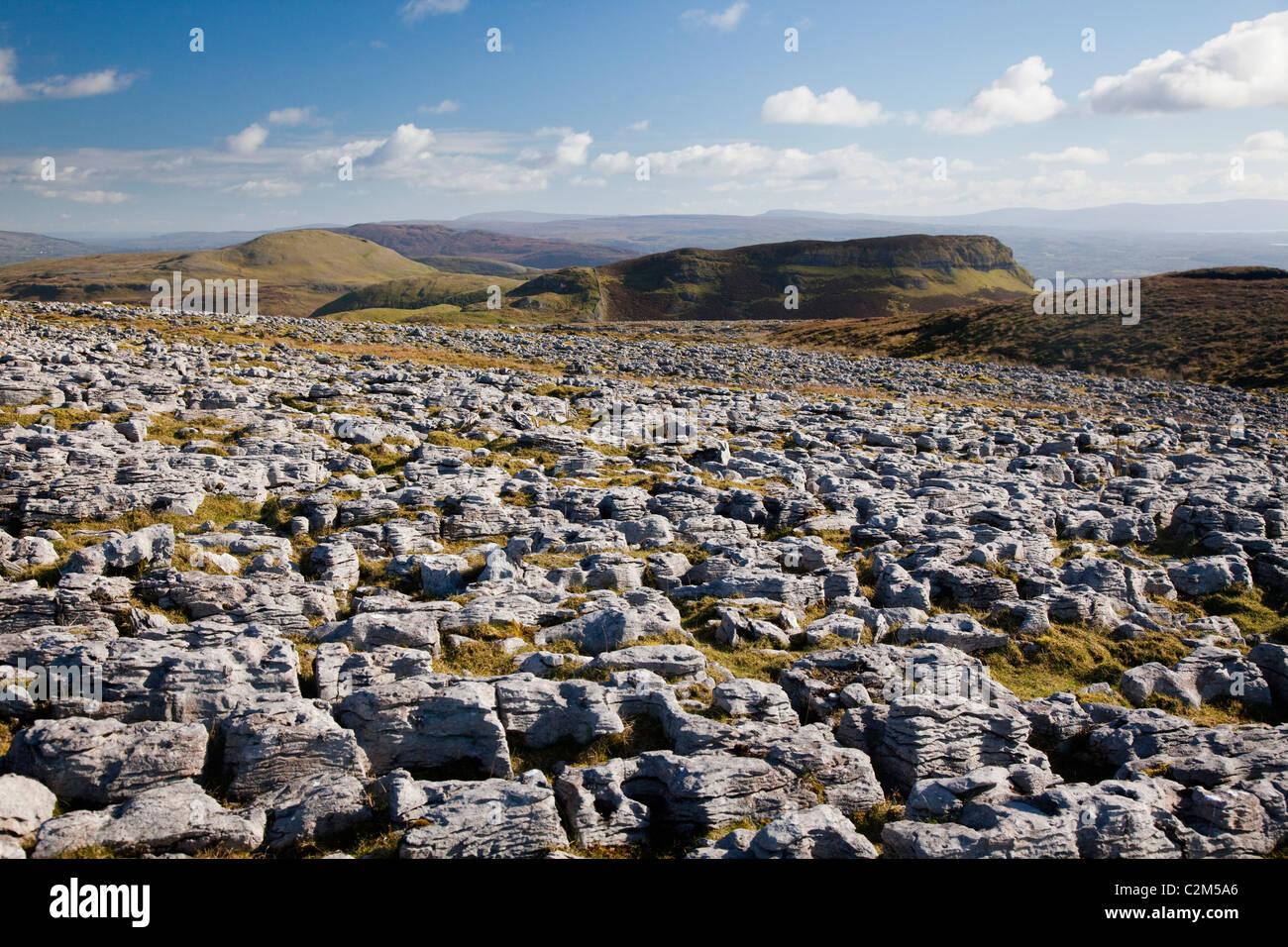 Lapiez sur Keelogyboy Mountain, County Leitrim, Ireland. Photo Stock