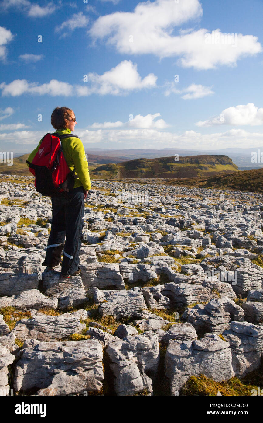 Walker au milieu lapiez sur Keelogyboy Mountain, County Leitrim, Ireland. Photo Stock