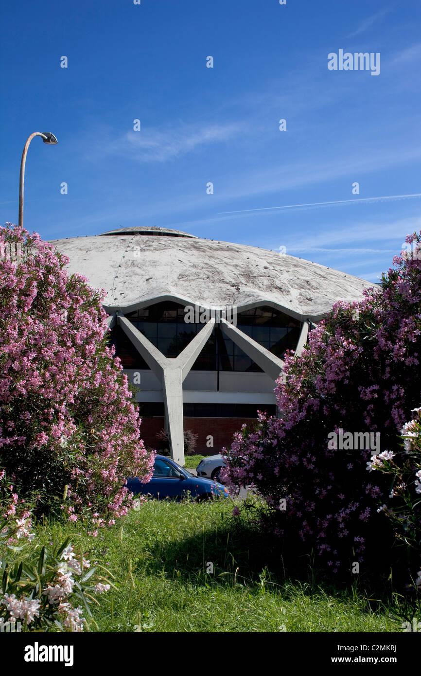 Palazzetto dello sport, Rome. Rome, Palais des Sports. Un dôme en béton armé. Photo Stock
