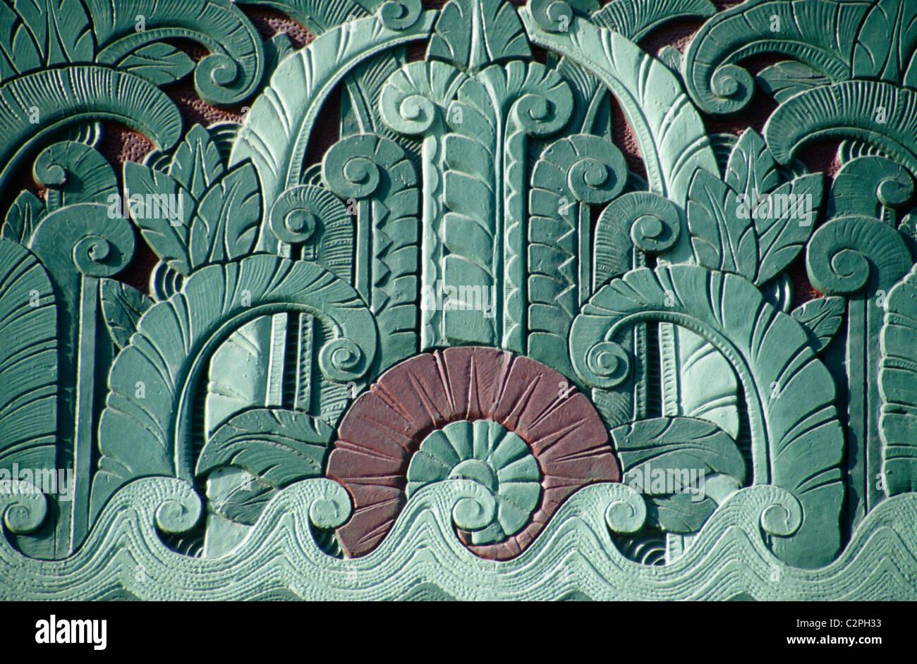 Bâtiment art déco, South Beach, Miami, Floride - vague détail Banque D'Images