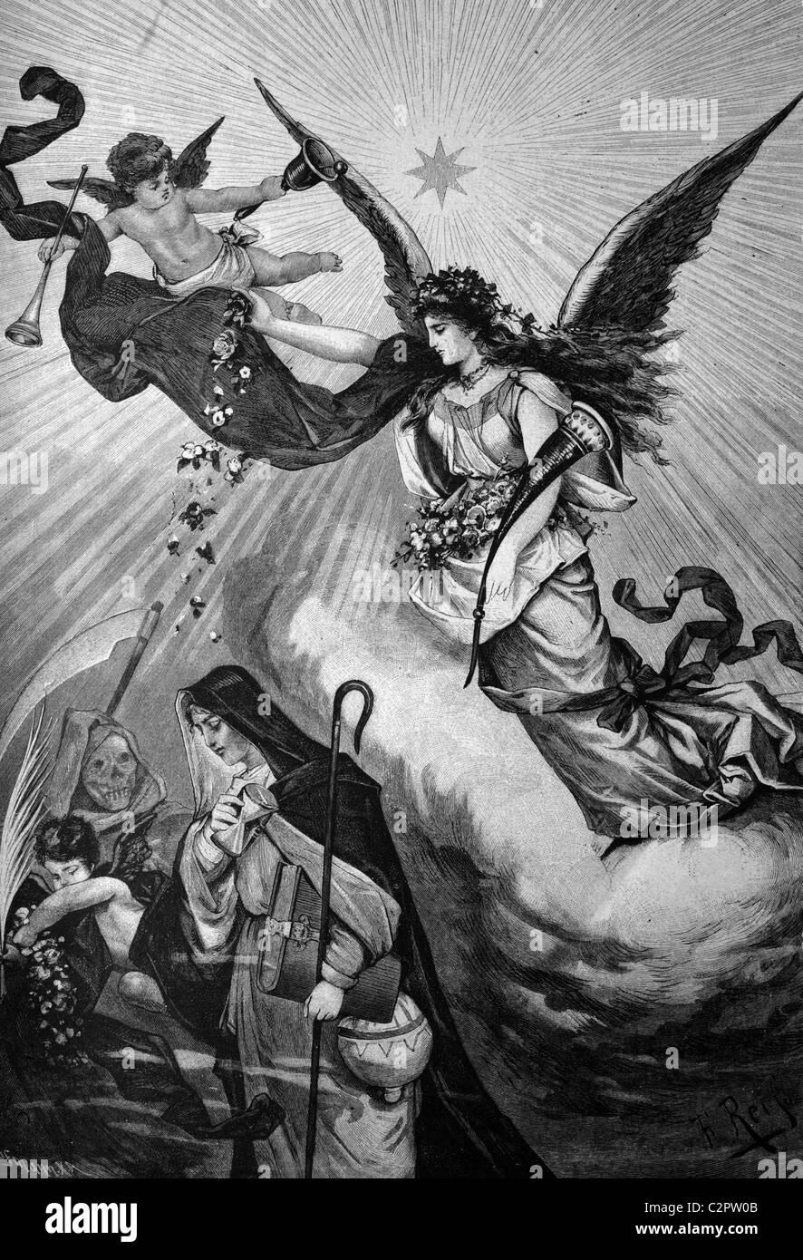 Image symbolique, tournant de l'année, l'illustration historique, vers 1886 Photo Stock