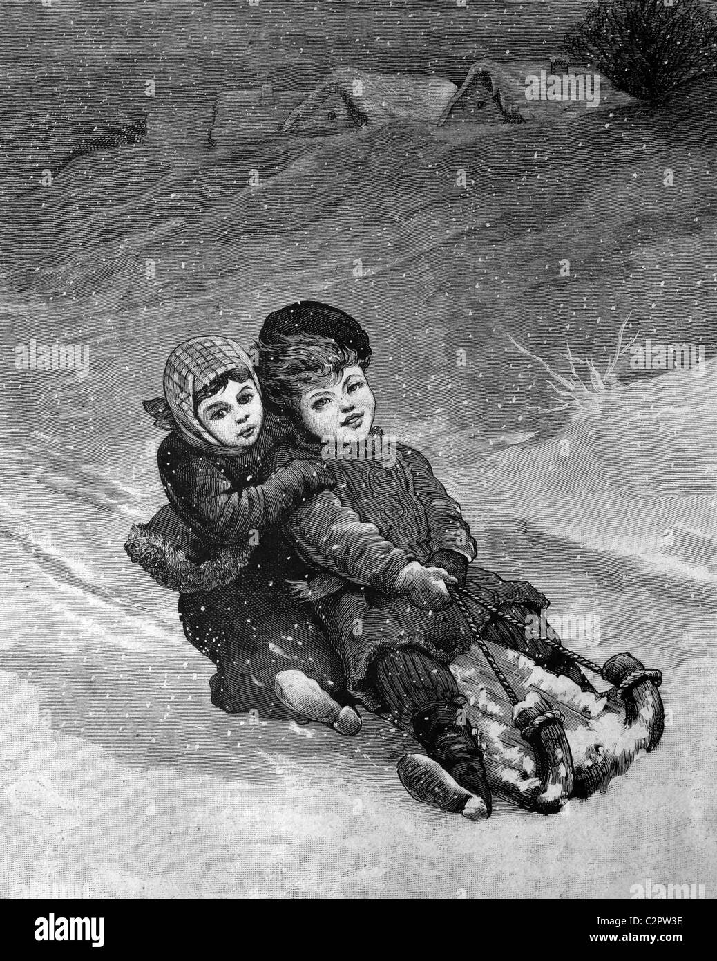 Enfants sur une luge, illustration historique, vers 1886 Photo Stock
