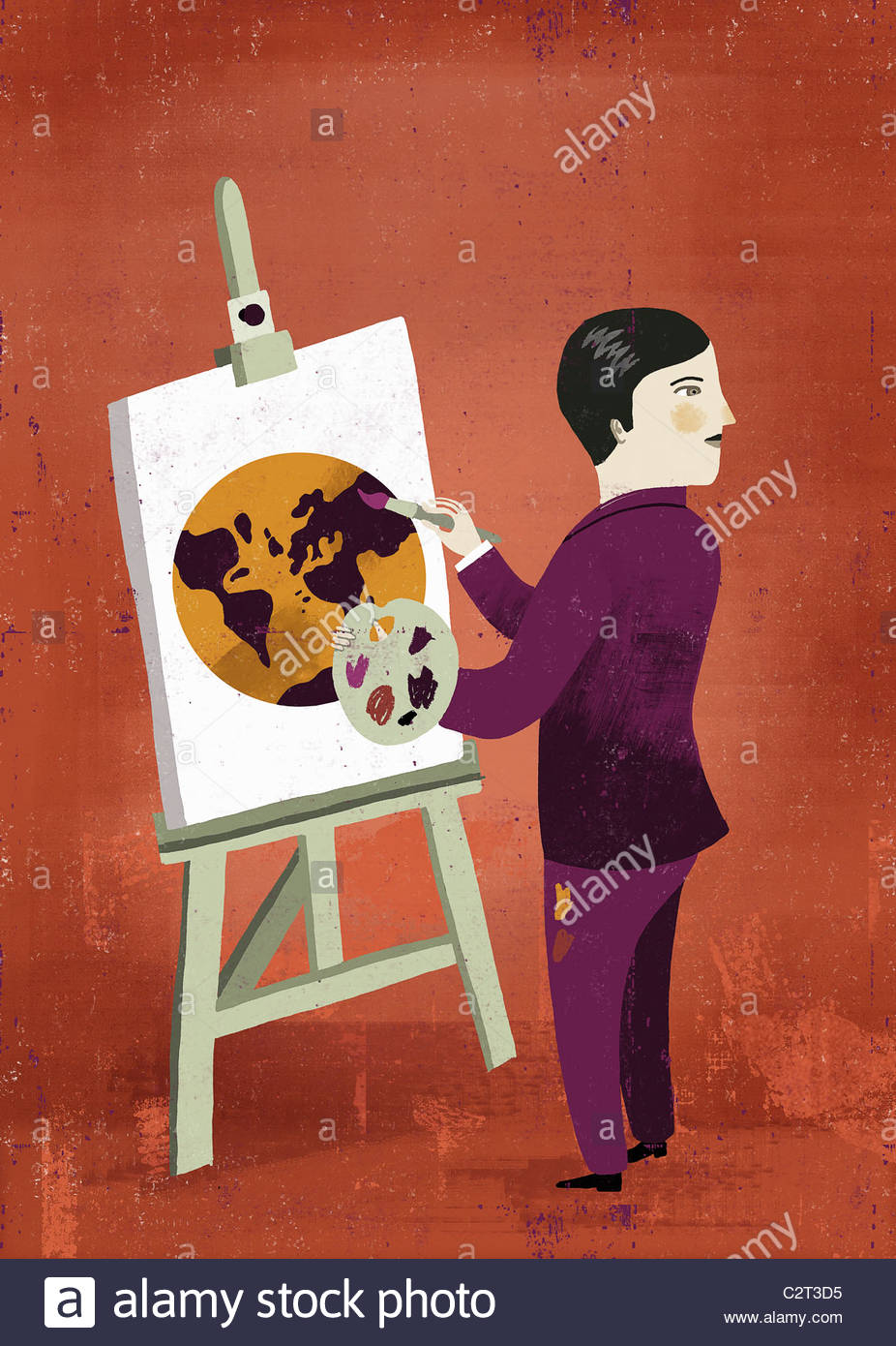 Man painting on easel globe Photo Stock