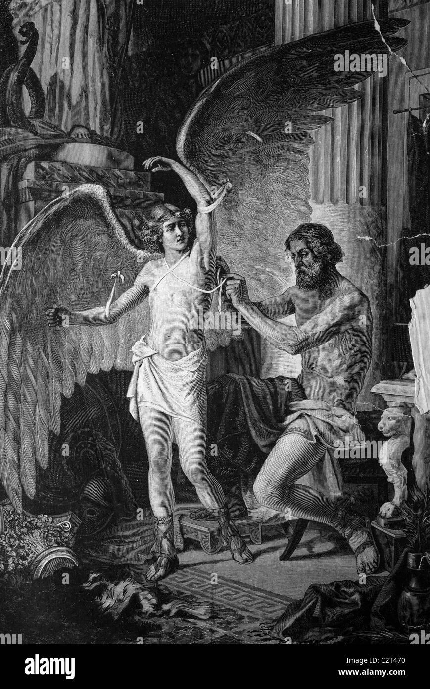 La mythologie grecque, dédale l'équipement de son fils Icarus avec ailes, illustration du historique, Photo Stock